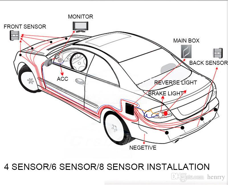16.5MM Flat Parking Sensor Mini Simple with Switch Stick Wing Probe Car Reversing Four Sensors Multiple Color Drill 16mm DC 12V DHL