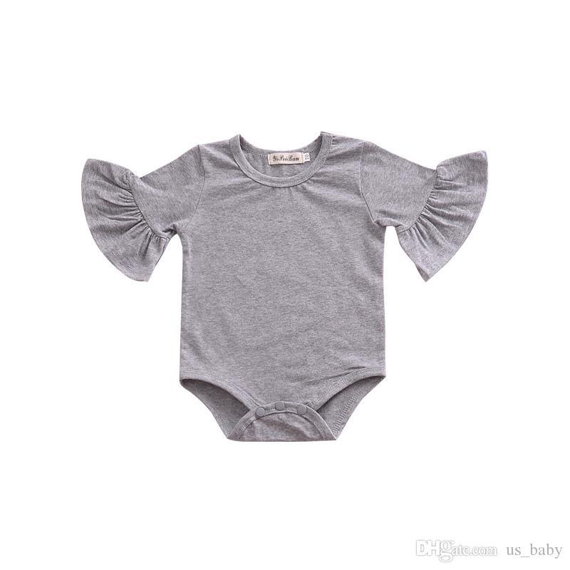 Bebek Ruffles Romper Bebek Kız Sevimli yarım Kollu Tulum Katı Renk İlkbahar Yaz Dış Giyim 3 renkler 4 boyutu