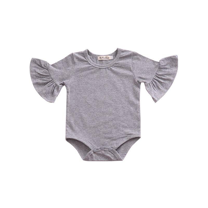 Infanterie volants barboteuse bébé filles mignonne demi-manches combinaison couleur unie printemps été Outwear 4 taille
