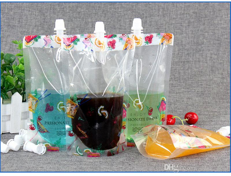 Die hübsche bunte Blume stehen oben Plastikgetränk, das Tüllen-Beutel-Beutel für Getränkeflüssigkeits-Saft-Milch-Kaffee 380ml QW7120 verpackt
