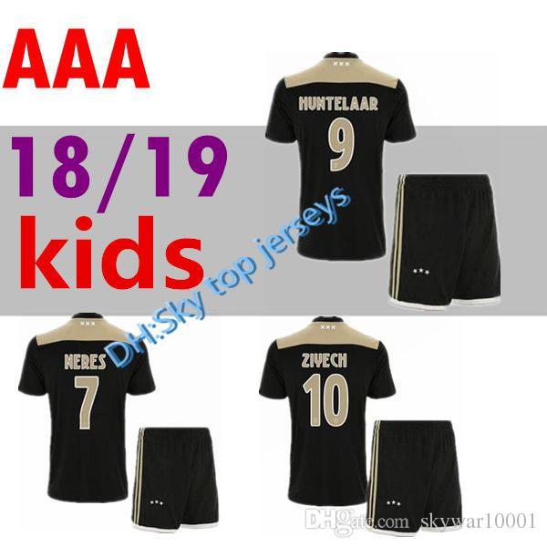 826cb1d27a2 2019 Thai Quality 2018 2019 Ajax FC Away Kids Kit Soccer Jersey 18 19 Away  KLAASSEN FISCHEA BAZOER MILIK AJAX Boy Child Youth Football Shirts From ...