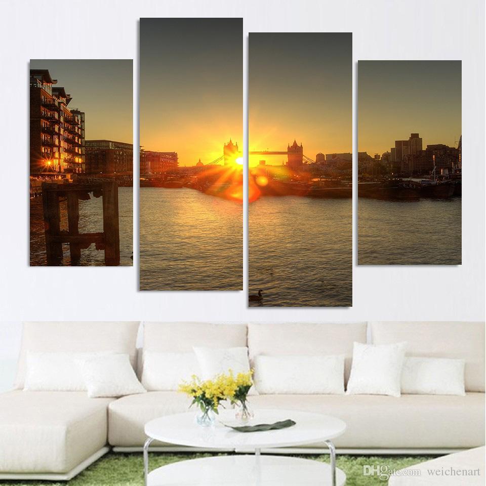 Tela Pittura 4 Pezzo Canvas Art London Dawn River Dock Bridge HD Stampato Home Decor Wall Art Immagine Soggiorno XA023A