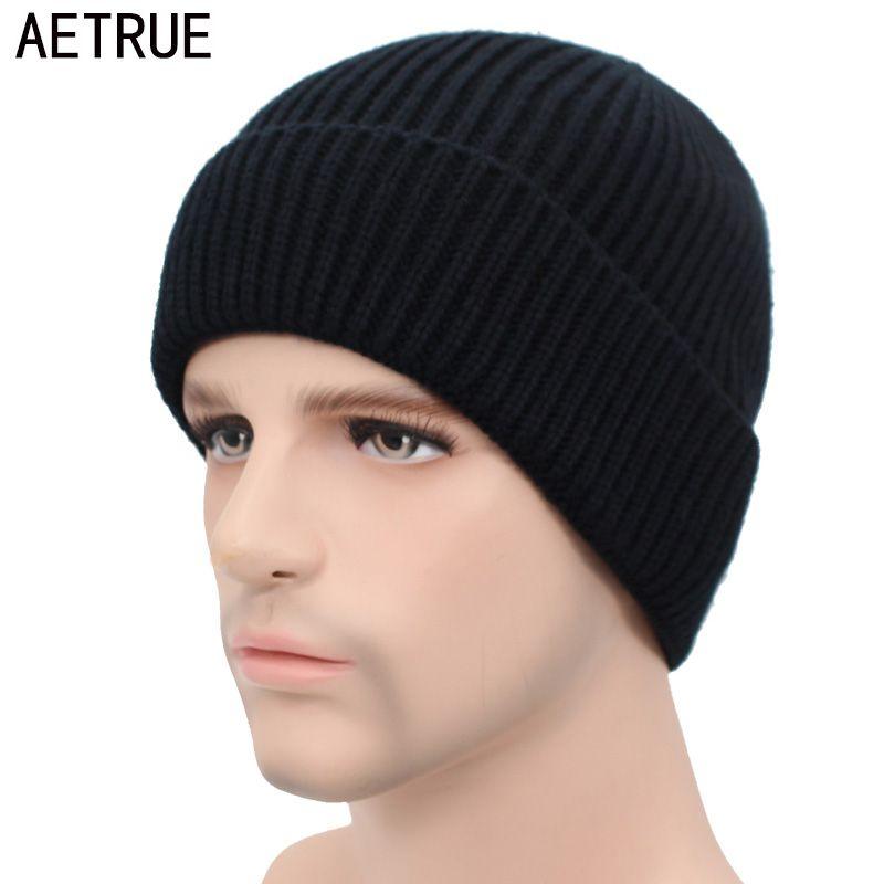 AETRUE Winter Skullies Beanies Men Winter Hats For Men Women Knitted Hat  Bonnet Fashion Caps Mask Warm Male Solid Beanie Hat Skullies   Beanies  Cheap ... aca6fb7a4304