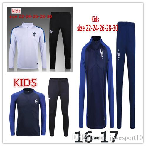 27882c95ce1 2019 Kids Fr POGBA GRIEZMANN Retro Training Suit 16 17 European Cup Child  MBAPPE KANTE DEMBELE FR Football Shirt Kits Football Jerseys Sweater From  ...