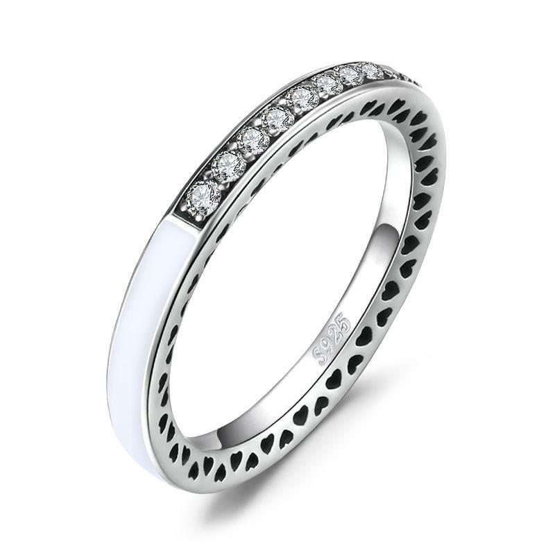 9827c1f0bc082 Compre Jewelrypalace Radiante Corações Esmalte Branco Cubic Zirconia Canal  Set Meia Eternidade Anel 925 Anel De Prata Esterlina Moda Jóias L18100707  De ...