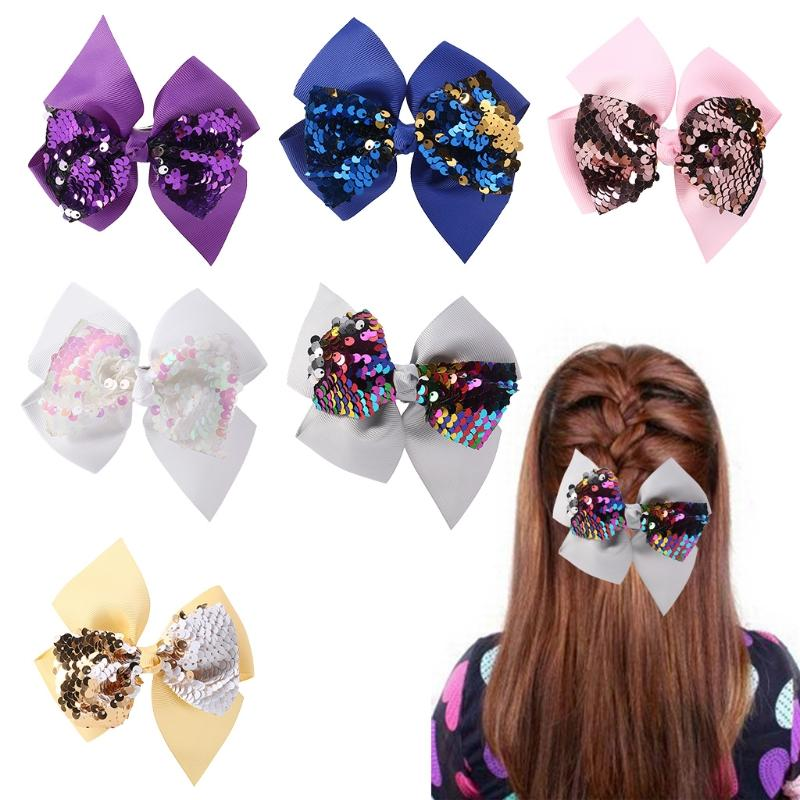Hot New 1 Pc Baby Hair Clip Girls Bowknot Glow Sequin Cute Princess Accessories Kids Hairpins 6 Colors