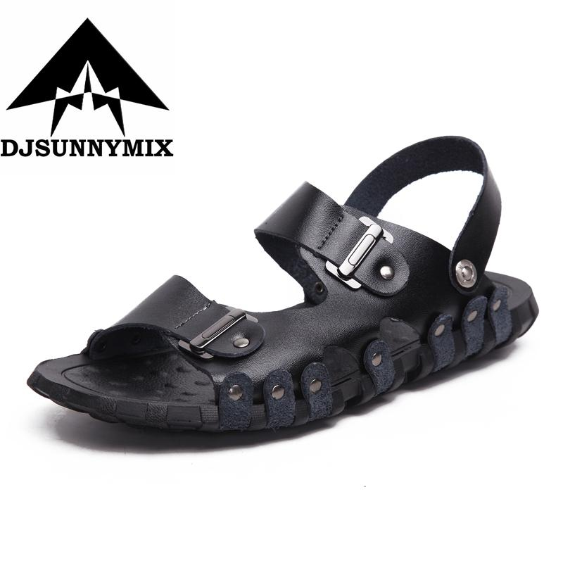 258fec2c7ae6 DJSUNNYMIX 2018 England High Quality Leather Men Sandals Black Brown Handmade  Men Summer Shoes Breathable Beach Shoes Boys Sandals Dansko Sandals From ...