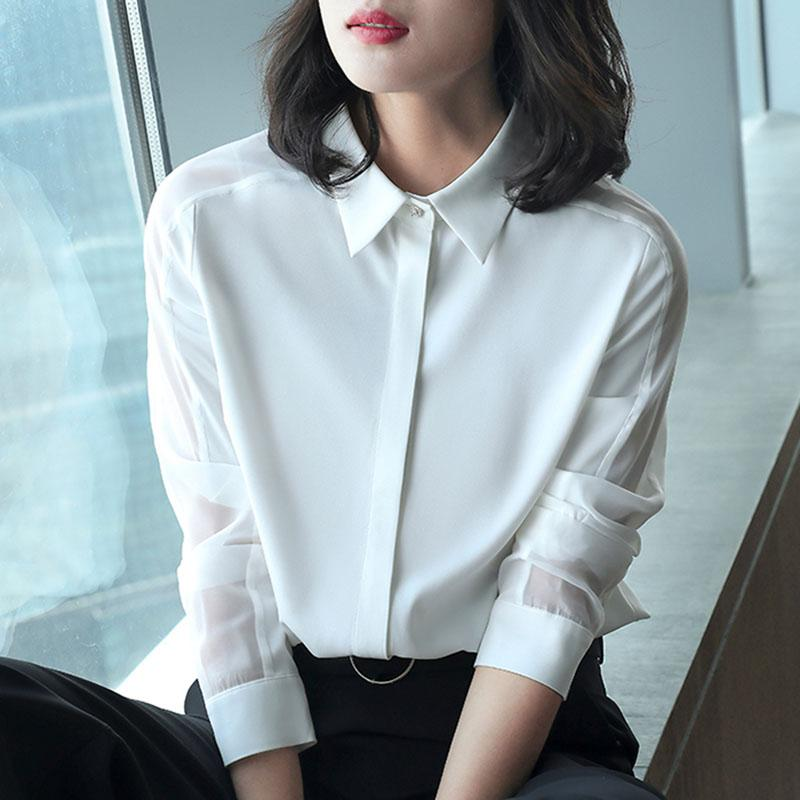c7ab7dee 2019 Office Work Wear OL Women Spring Summer Style Chiffon Blouses Shirts  Lady Casual Long Sleeve Turn Down Collar Blusas Tops DD1834 From Lichee666,  ...