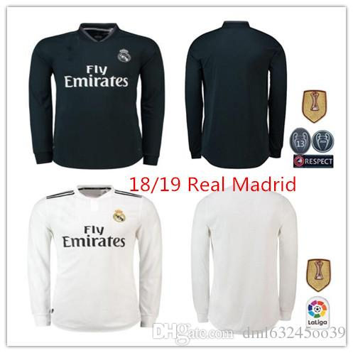 new concept 4b49c 28da7 2018 2019 Real madrid Long sleeve Asensio MARCELO soccer jersey 18 19 ISCO  AWAY BALE kroos ISCO BENZEMA UCL 13 cups football shirts