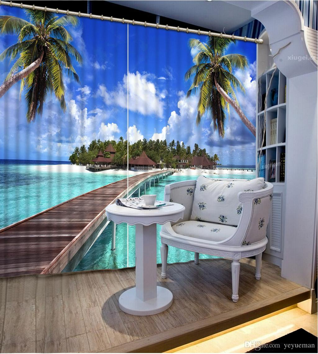 Creative The Living Room Bedroom Curtain Coconut tree landscape Curtains For Window Home Decor broke wall Blackout Drapes