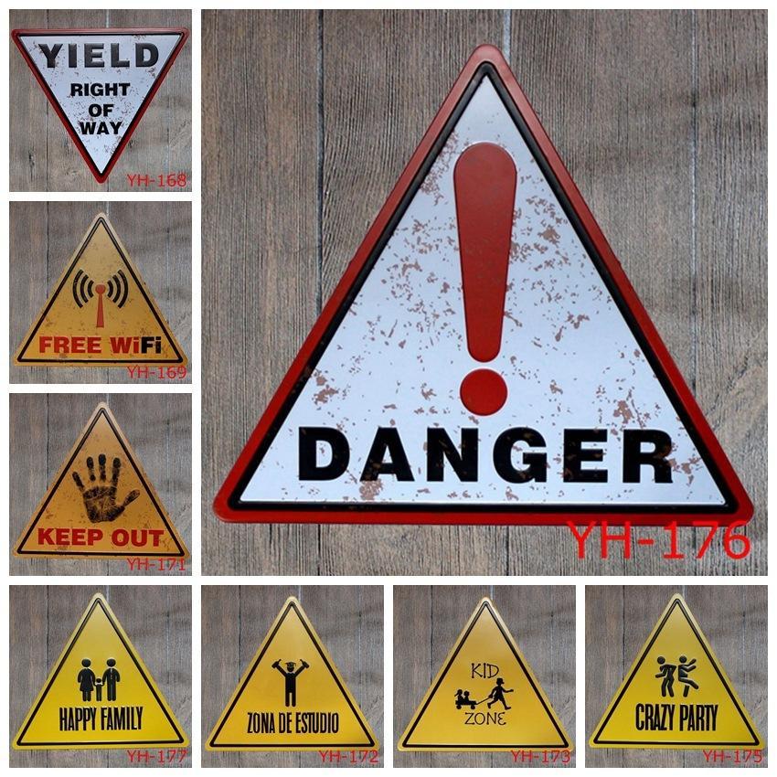 2019 32x34cm Antique Retro Metal Tin Traffic Safety Warning Signs