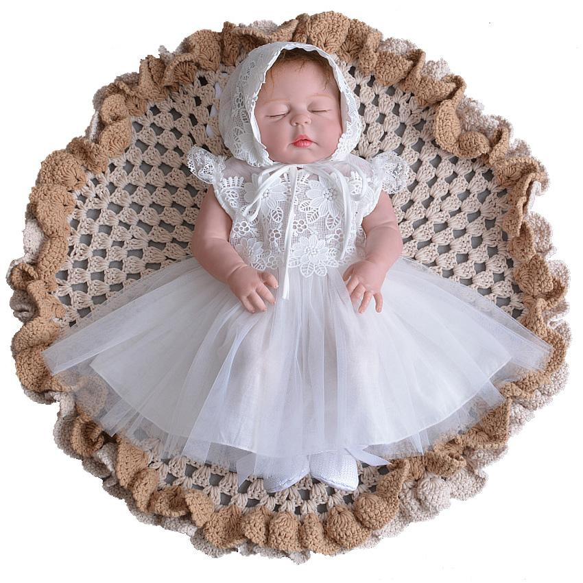 42edaf75892f 2019 Brand New Born Baby Dress With Cap White Embroidery Lace Girls  Christening Gowns 1 Year Birthday Cute Clothing For 0 30 Monthes From  Cover3085, ...