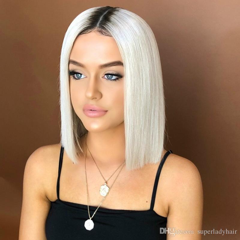 Gefarbt Bobo Kopf Kurze Haare Schwarz Gradienten Weiss Kurze Glatte Haare Chemische Faser Haar Perucke Haarteile Synthetische Perucken
