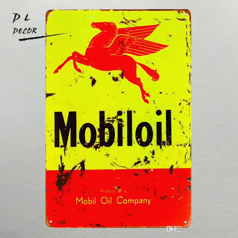 "Vintage Metal Tin signs ""Mobiloil"" Garage Craft Wall Painting,Home Decor, Man Cave"