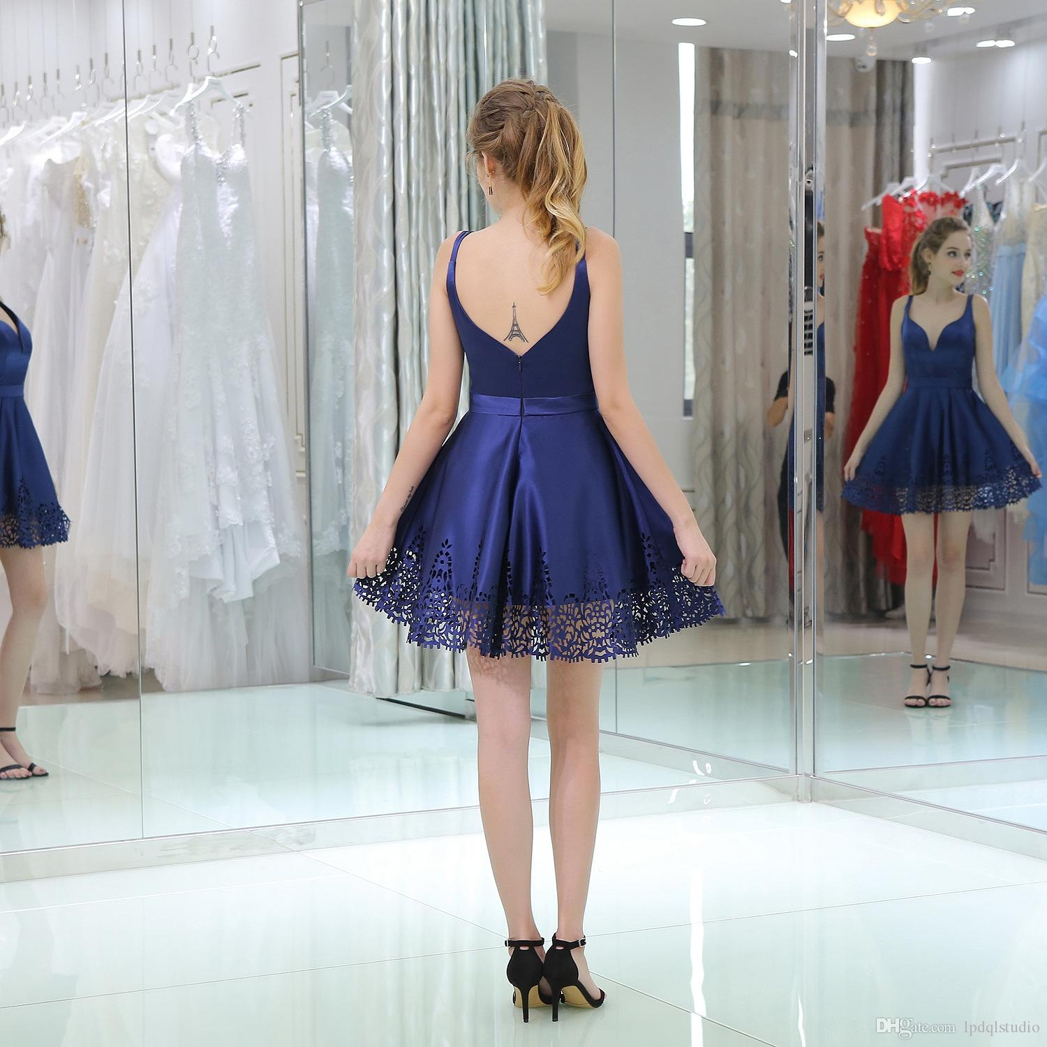 Sexy Royal Blue Party Dresses Spaghetti Zipper Back Short Summer Cocktail Dress High Quality Satin Party gowns Cheap