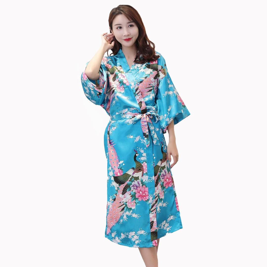 c0ef8eaa63 2019 Female Fashion Kimono Bathrobe Gown Print Peacock Bride Bridesmaid Wedding  Robe Lady Sexy Three Quarter Sleeve Sleepwear S 3XL From Beautyjewly