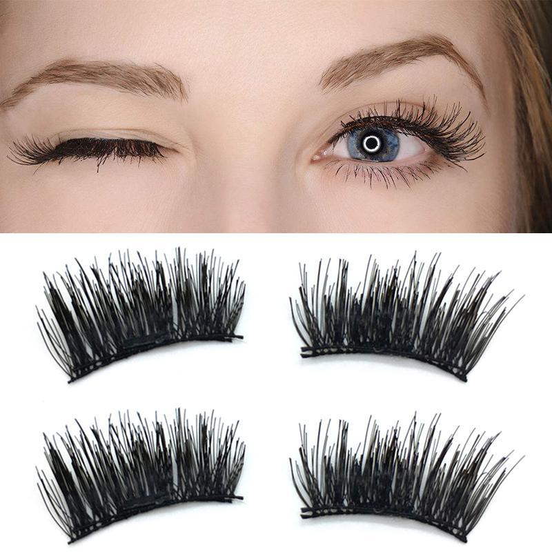 3a259ee7ad 3D False Eyelashes Handmade No Allergy Fake Eye Lashes Fiber Thick Cross Reusable  Single Magnetic Eyelash Extension Eyelashes Grow Back Hollywood Lashes ...