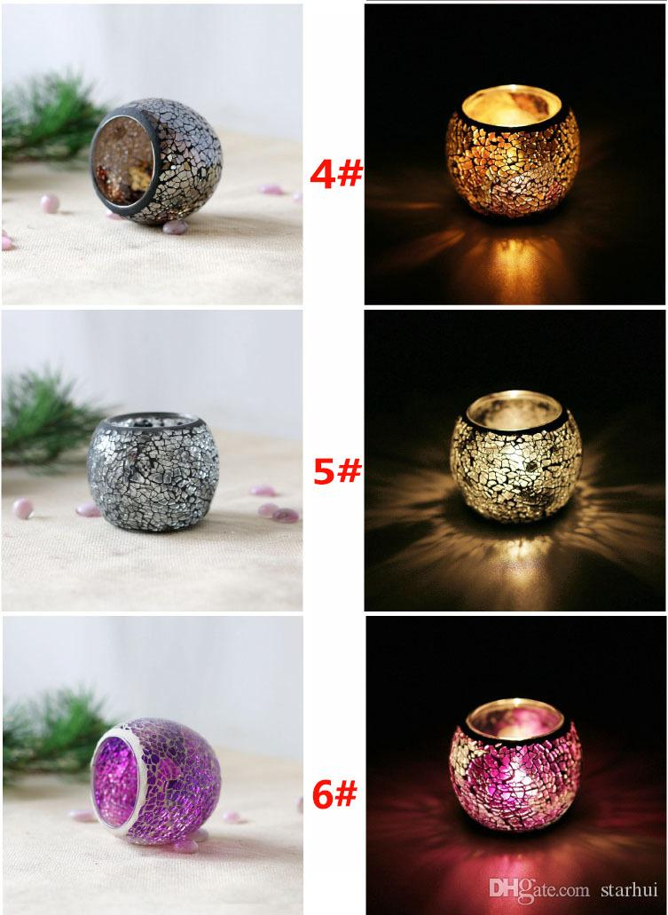 Crystal Mosaic Glass Candle Holder Candlestick Centerpieces For Valentines Day Wedding Decoration Candle Lantern Not Candle WX9-319