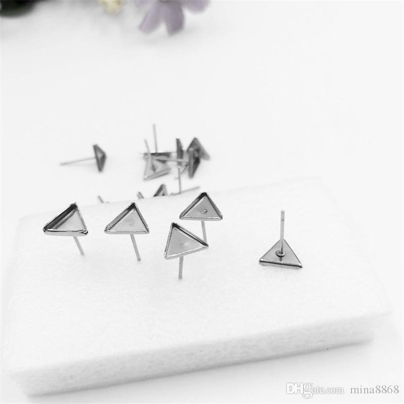 stainless steel triangle Ear Studs Earring Base Setting Cabochon Setting for earrings making crafts Fashion Whole Sale