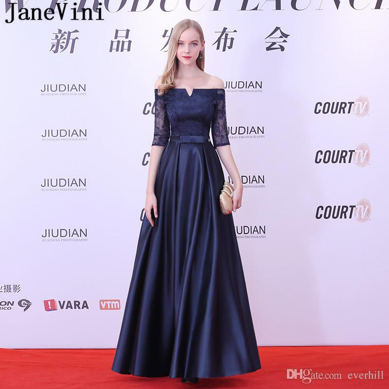 Janevini New Arrival Off Shoulder Long Evening Dress Navy Blue Half