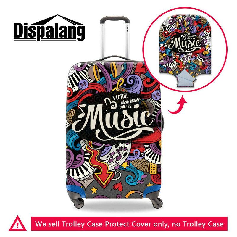 Musical Note Pattern Portable Elastic Stretch Protect Suitcase Cover To 18-30 Inch Cases Durable Dust Rain Luggage Covers Travel Accessories