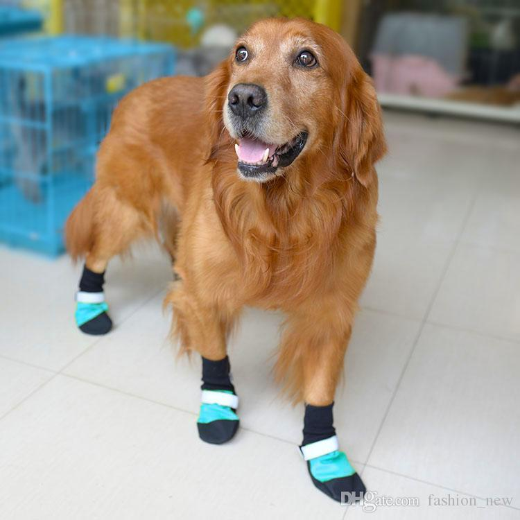 Oxford Waterproof Large Dog Shoes For Golden Retriever Leather Anti-Slip Reflective Pet Dog Rain Boots XS/S/M/L/XL