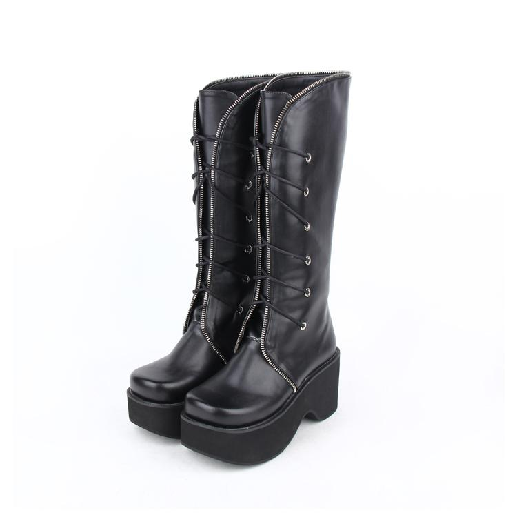 3ffc19359da4 Lolita Russian Boots Black Shoes Lace Winter Wedge Heels Lace Up Leather  Boots Sexy Women Punk Thick Bottom Platform Cheap Shoes Online Shoes For  Sale From ...