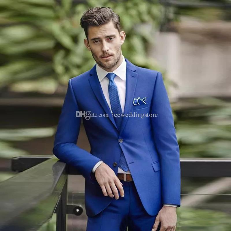 Acquista 2018 Royal Blue Uomo Abiti Da Sposa Abiti Da Sposo Abito Da Sera Skinny  Blazer Custom Made Da Sposo Wear Tuxedo Best Man Prom Jacket + Pants A ... 0bd2e8a6a24