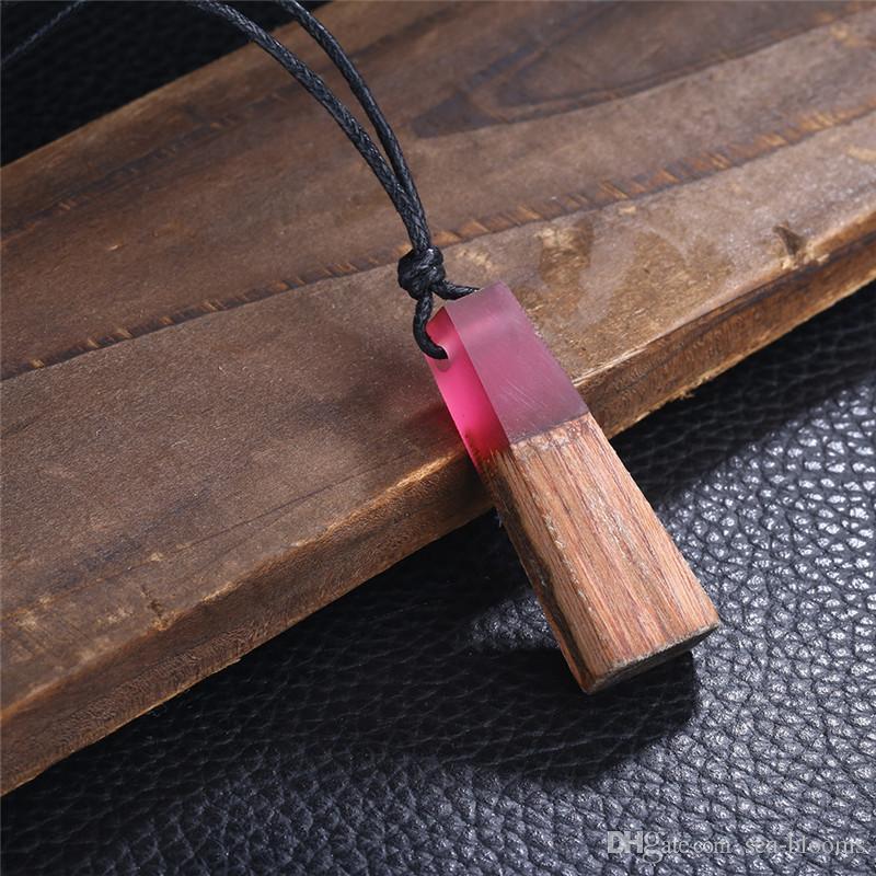 Holz Harz Halskette Frauen Männer Handmade Vintage Harz Holz Aussage Halsketten Anhänger Halskette Schmuck Geschenke D948L