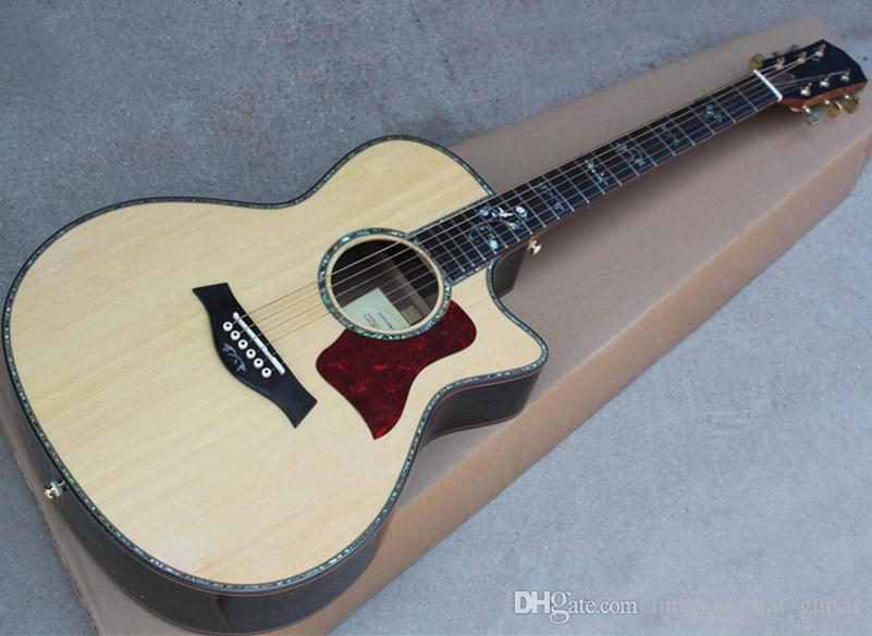 Natural Wood Color 41 Cut Away Acoustic Guitar With Abalone Binding