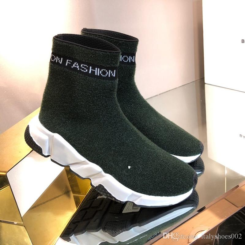 78a1d2c3efef4 Luxury Designer Speed Trainer Stretch Knit Mid Sneakers Fashion Sock ...