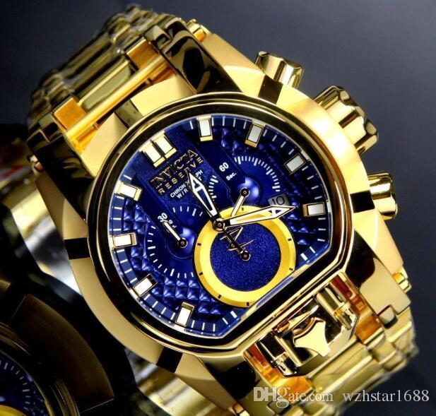 24120ccdc9c1 Уникальный непобедимый INvicta 25210 резервный Болт Zeus Мужские кварцевые  часы белый циферблат золото S. Стальной браслет W   R 200MT хронограф