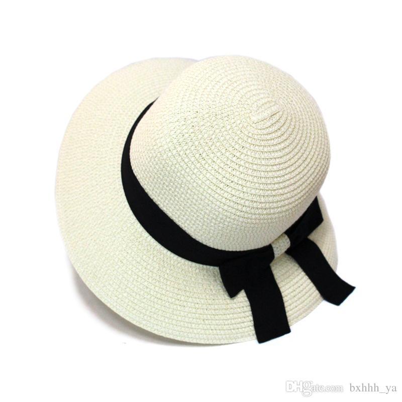 2018 Hot New Fashion Summer Casual Women Ladies Wide Brim Beach Sun Hat Elegant Straw Floppy Bohemia Cap For Women Dating Cheap