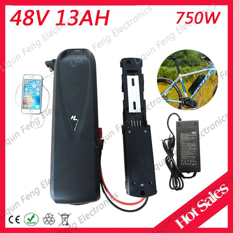 E-bike Electric Bike 48V 13AH Super bottle Downtube Hailong Lithium ion  Li-ion Battery for Ebike Conversion Kit with 2A Charger