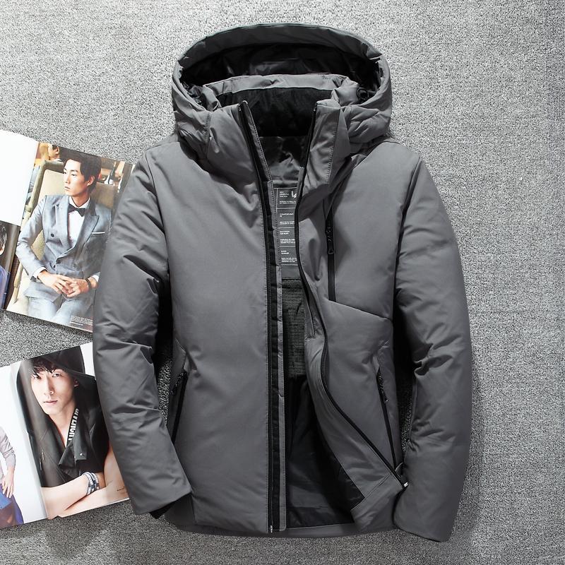 more photos 413f1 26649 Giacche invernali per uomo cappello a vento impermeabile caldo cappotto da  uomo cappotto invernale invernale da uomo in piuma d oca bianca giacca ...