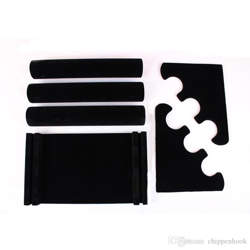 Big Sale Wooden Jewelry Display Rack Black Velvet Bracelet Bangle Watch Display Holder Three-Tier T Bar Bracelet Display Stand Holder