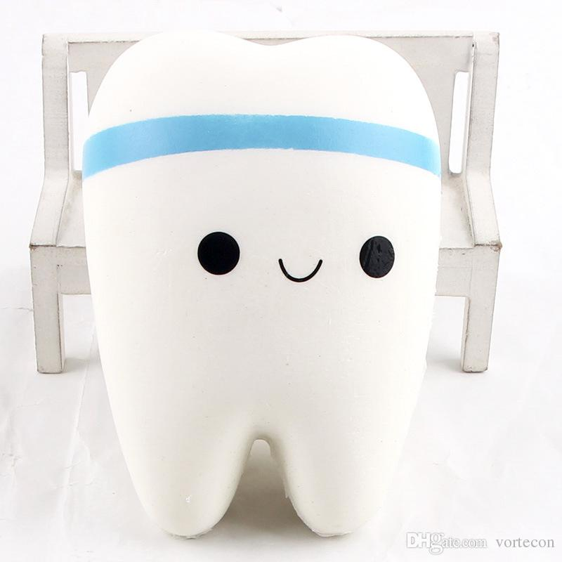 10cm Novelty Jumbo Squishy Tooth Slow Rising Kawaii Soft Squishy Teeth Cute Cell Phone Strap Toys Kids Baby Gift
