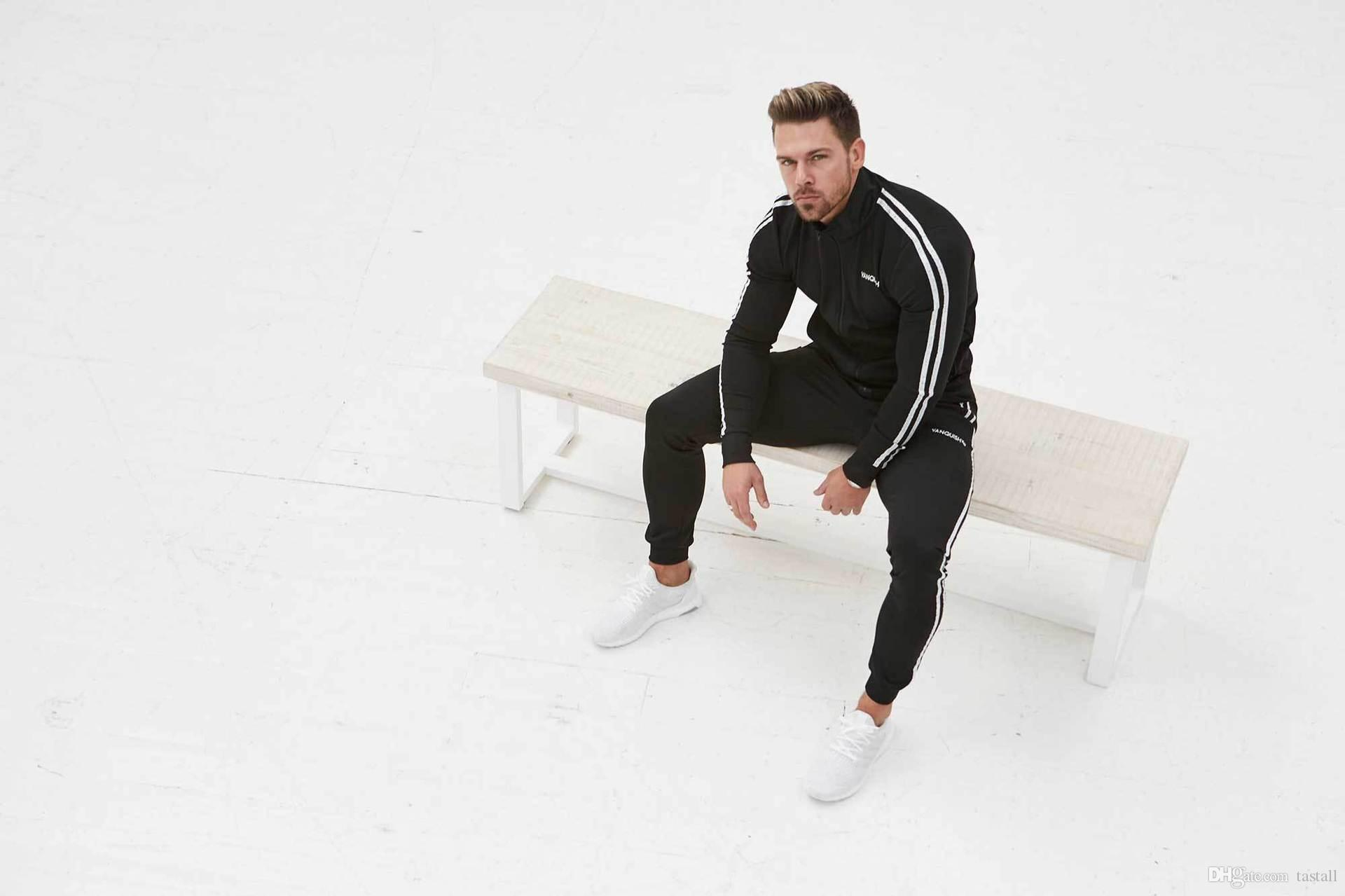 Mens Spring Tracksuits Sports GYM Slim Fit Clothing Sets Stand Collar Stripes Trimmed Tops Long Pants Suits Sports Joggers