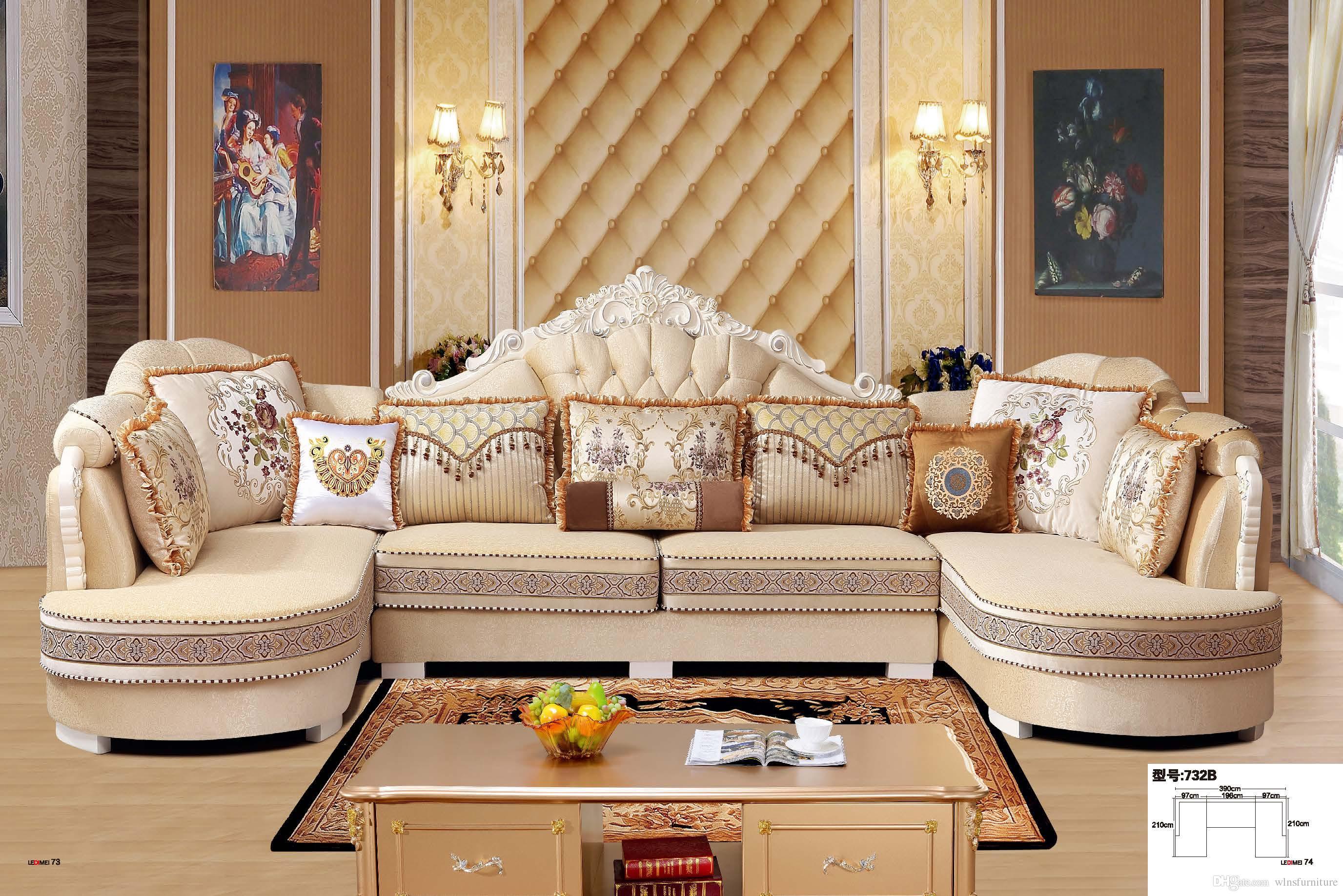Compre Sofa Moderno De Tela De La Sala De Estar En Forma De L Sofa