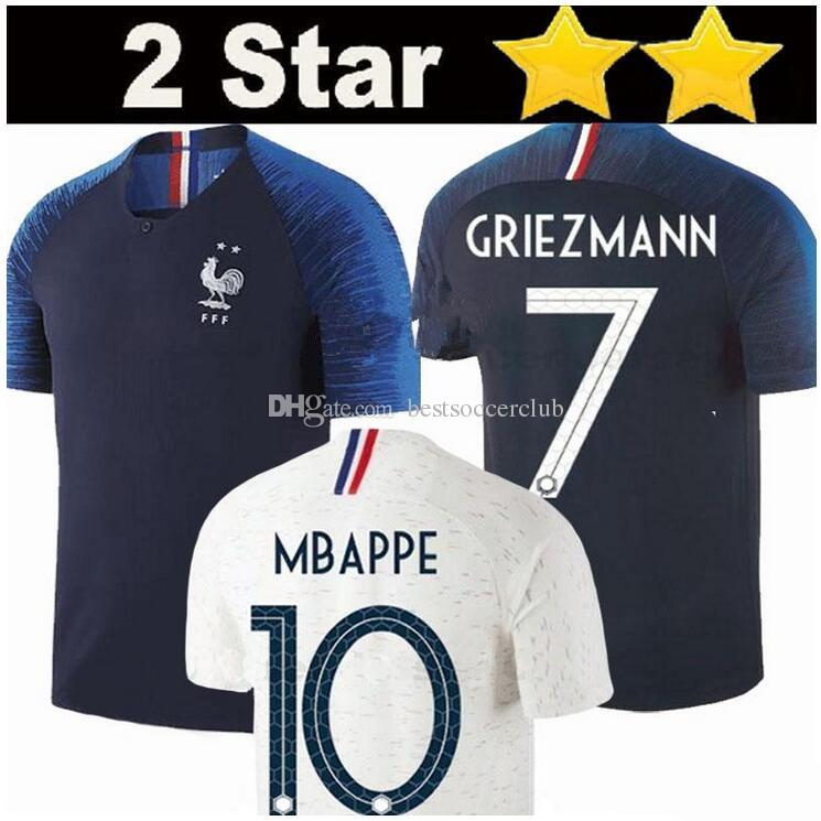 322e36d097b 2019 2 Stars FR Pogba Soccer Jersey 2018 World Cup Home BLUE 18 19 PAYET  DEMBELE MBAPPE GRIEZMANN KANTE National Team Football Shirts COMAN AWAY  From ...