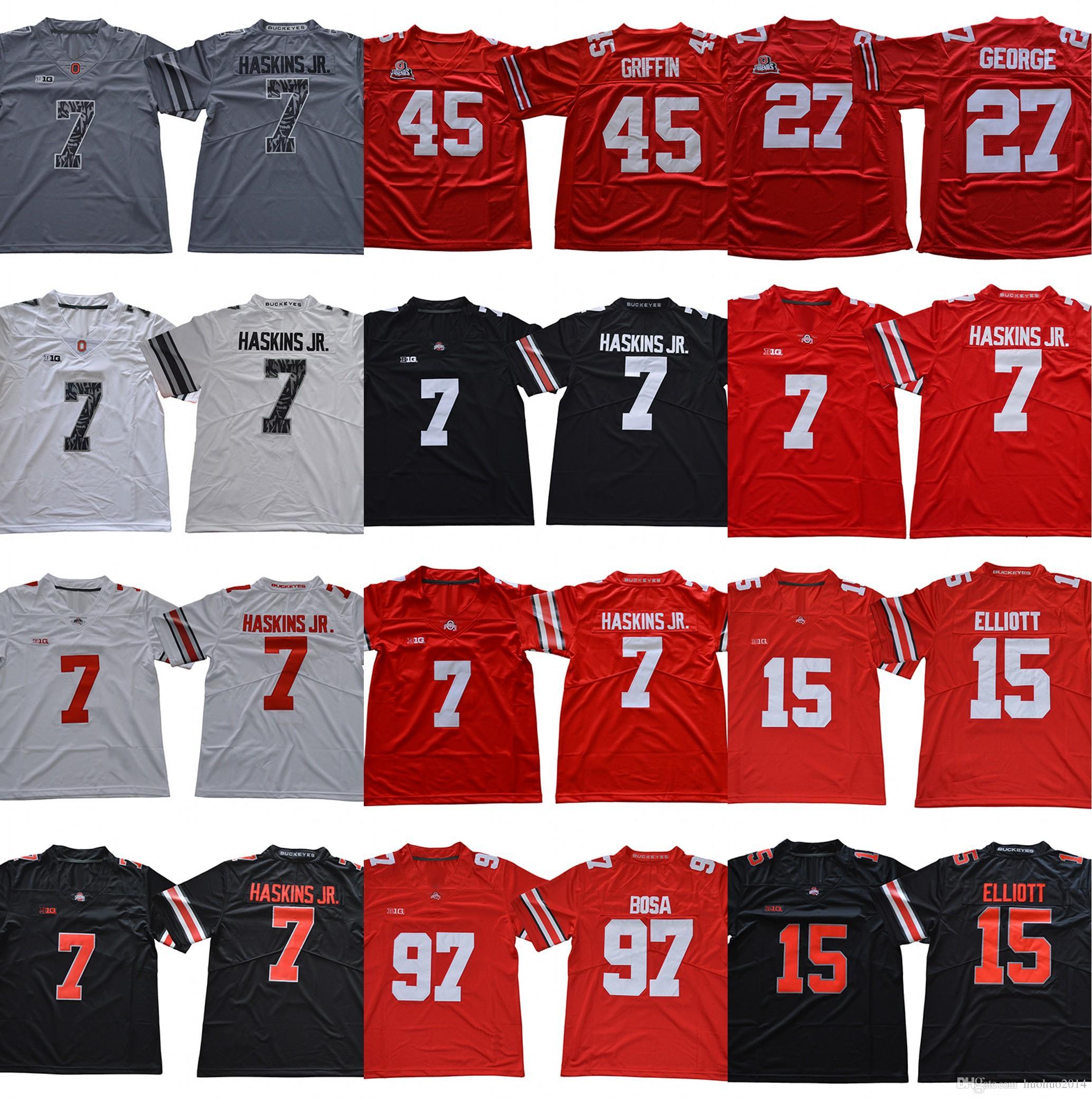0ecc4c173e9 2019 2018 Ohio State Buckeyes 7 Dwayne Haskins Jr. 97 Nick Bosa 15 Ezekiel  Elliott 27 Eddie George 45 Archie Griffin Men College Football Jersey From  ...