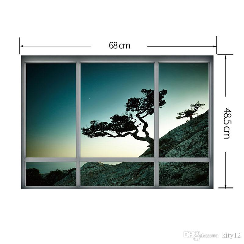 Hot sale New 3D Window Tree scenery landscape Wall Stickers Decor for Living Room Home Décor