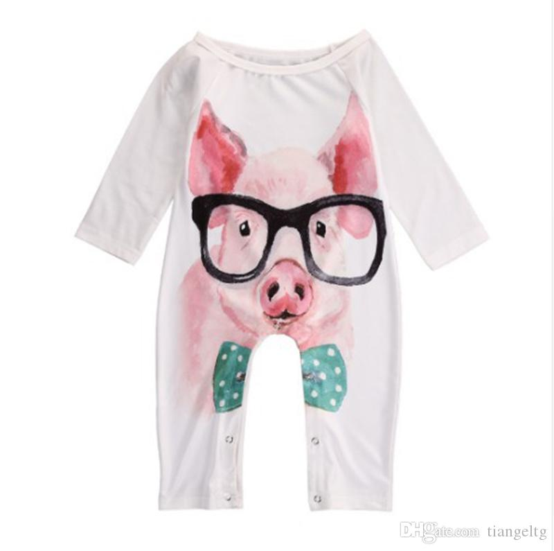 c90e5f4aff8c 2019 Baby Cartoon Printed Romper Pig Rabbit Fingers Autumn Baby Boy Girls  Long Sleeve Jumpsuit Cotton Pullover 0 24M From Tiangeltg