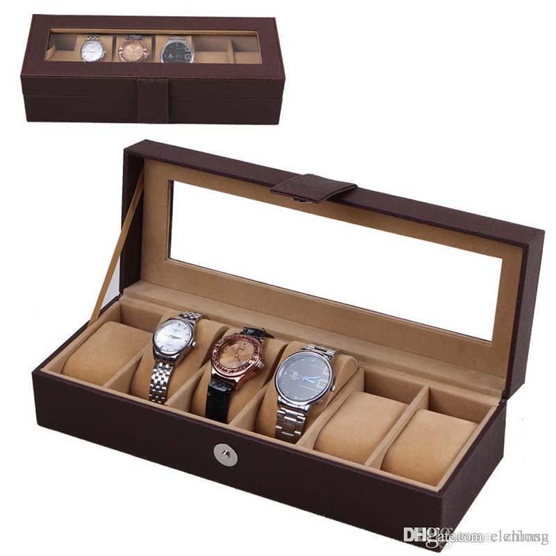 Beau Black 6 Grid Watch Storage Box Glass Window Jewelry Wrist Watches Display  Collection Storage Box Case Leather Skmei Caja Reloj Hhz10 Wholesale Small  Boxes ...