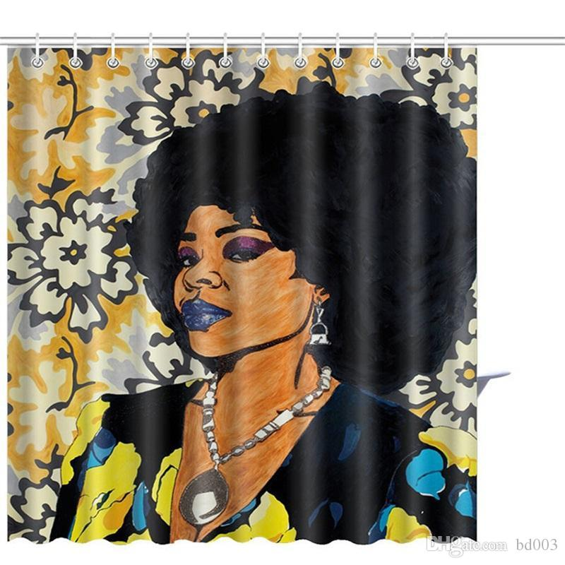 2019 3D India Girl Africa Woman Shower Curtain Hook Art Printing Home Decorate Water Mildew Proof Polyester Fiber Small Practical 30sz4 Cc From Bd003