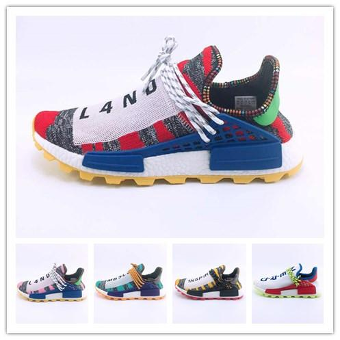 super popular 69350 4b88f Compre Human Race 3 3.0 Afro Hu Trial Red Green Pharrell Williams Zapatos  De Running Para Hombre Black Solar Pack 3 Women Trainers Sports Sneaker  Designer ...