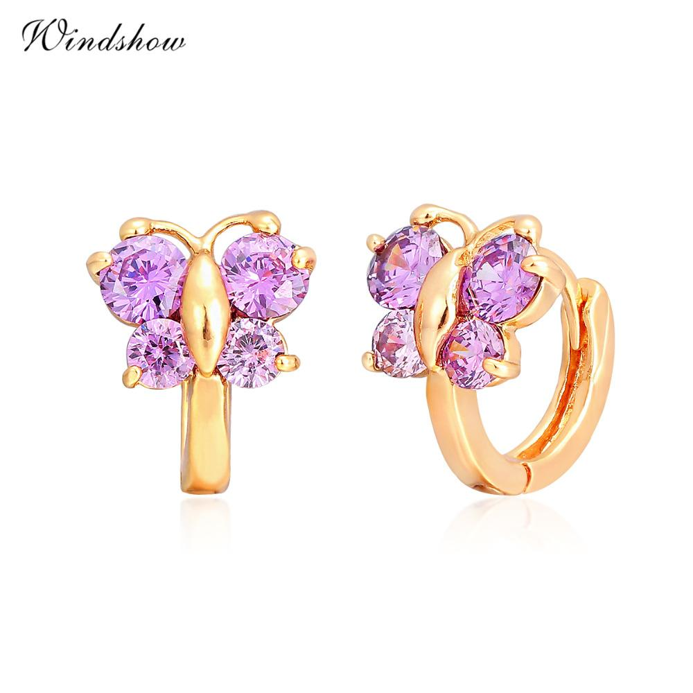 b22cdd994 2019 Whole SaleBaby Girls Huggies Small Hoop Earrings For Women Kids Child  Gold Color Butterfly Purple CZ Cute Jewelry Anti Allergic Aros Arete From  Hermane ...