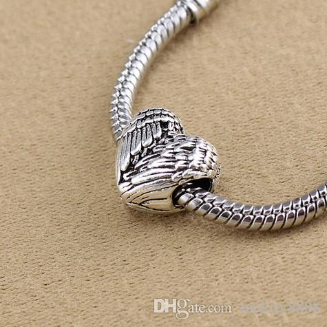 Free Ship Tibetan Silver Big Hole Lovely Heart Wing Beads Charms Spacer Beads For Jewelry Making 11x11.5mm Hole 4.5mm