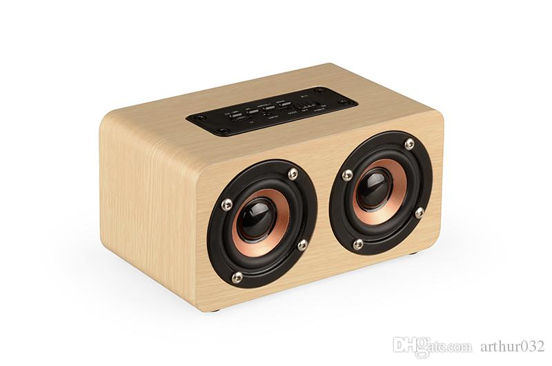 W5 Wood Boombox Wooden Box Wireless Bluetooth Speaker 10W High Power Subwoofer 2000mAh Battery Support TF Card AUX Cable