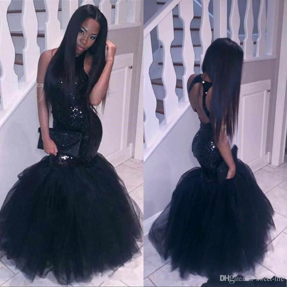 Sparkly Black Girls Mermaid African Prom Dresses 2018 Halter Sequins Tulle  Sexy Corset Formal Cheap Party Pageant Formal Dresses Evening Grecian Style  Prom ... 19bcf7ec4756